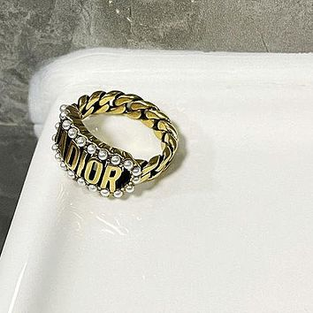 Dior CD new letter ring ladies personality rhinestone brass ring