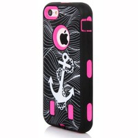 Meaci® Iphone 4 4s Case 3in1 Anchor Print Combo Hybrid Defender High Impact Body Armorbox Hard Pc&silicone Case (Anchor&pink)