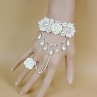 Women's Fashion Bracelets rings Bride Korean female wedding accessories Princess Luo Li white rose and Pearl lace bracelet band ring cheap jewelry (Color: White) = 1930170308