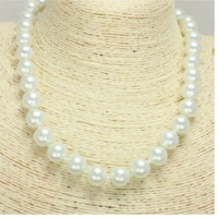"17"" white faux glass pearl choker necklace"