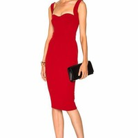 Red Carol Lee Bandage Midi Dress