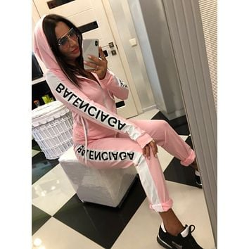 BALENCIAGA Women Fashion Long Sleeve zipper Jacket Pants Two-Piece