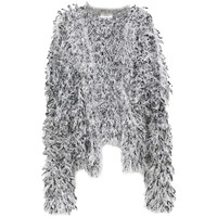 Gray Trendy Womens Fluffy Fur Patterned Cardigan Sweater