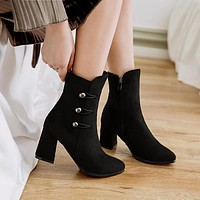 Suede Pointed Toe Middle High Chunky Heel Short Boots