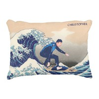 Funny Surfer Surfing On The Hokusai Great Wave Accent Pillow