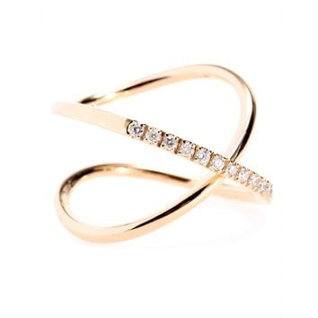 roberto marroni - 18kt rose gold ring with white diamonds