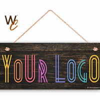 "Company Sign, Place Your Logo on Sign, 6""x14"" Sign, Promote Business or Boutique, Rustic Dark Wood Style,  Made To Order"