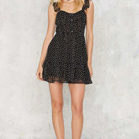 Black Sleeveless Polka Dot Chiffon Mini Dress