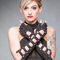 Long Fingerless Black Gloves with Studs | Gothic Accessories