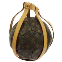 Louis Vuitton Monogram Collector's Soccer Ball in Leather Carrying Strap Holster