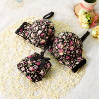 Seamless Underwear Brassiere Cotton Comfortable Bra Set Print Floral Bra Brief Sets Sexy Bra And Panty Set Conjunto Lingerie N5