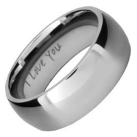 Willis Judd Mens 8mm Titanium Wedding Band Ring Engraved I Love You
