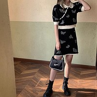 Butterfly Vintage Knitted Two Piece Skirt Sets Women Short Sleeve Tops + Elastic Waist A-line Mini Skirt Suits