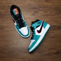 [ Free Shipping ]Nike Air Jordan 1 Mid SE Riverwalk South Beach Turbo Green Black Pink 852542 306  Running Shoes