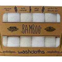"Bamboo Baby Collection 6 SUPER SOFT Baby Washcloths, 100% Natural Bath Towels, Perfect for Baby's Sensitive Skin, 6 Pack 10""x10"""