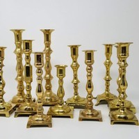 Vintage Brass Candlestick Collection Set of Eleven