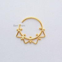 Handmade Gold Plated 925 Sterling Silver Nose Ring, Ethnic Septum Ring, Body Jewelry, Nose Ring, Gypsy, Tribal Belly Dance - #1875