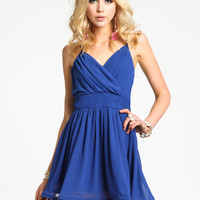 BLUE WRAP CHIFFON DRESS