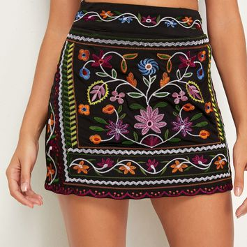 Floral Embroidery A-line Skirt
