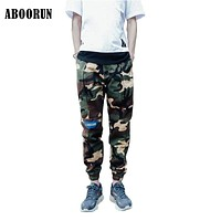 2017 New Spring Mens Joggers High Quality Camouflage Patchwork Sweatpants Harem Pencil Trousers A2011