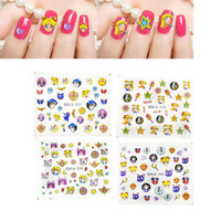 Multicolor Sailor Moon Nail Art Stickers Japanese Anime Makeup Decoration Decals