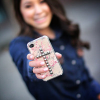 Rosé studded cross iPhone 4/4s and 5 case