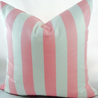 ChristmasinJulySALE Pink and white Canopy stripe pillow slipcover