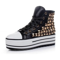 Black High Top Sneakers with Golden Stud Embellishment