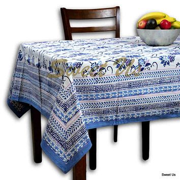 Block Print Floral Tablecloth for Rectangle Square Round Table Cotton Blue Pink