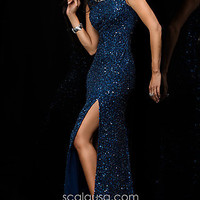 Long Open Back Sequin Formal Gown