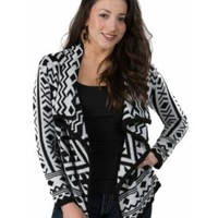 Western Connection Women's Black with White Aztec Long Sleeve Sweater Cardigan
