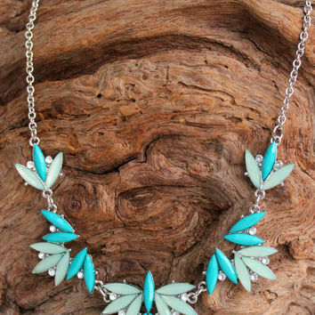Marquise Beaded Necklace, Teal