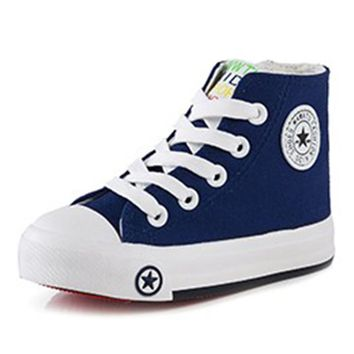 Junior Boys Girls Canvas High Top Tennis Shoes With Star Motif