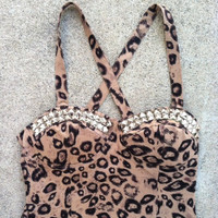 Studded Bustier Top LARGE Leopard Silver OR Gold OR Black Studs