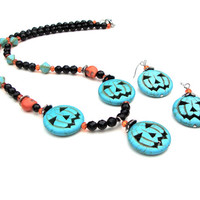Halloween jack o lantern necklace - pumpkin jewelry - turquoise magnesite & black stone necklace - Fall accessories by Sparkle City Jewelry