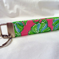 Lilly Pulitzer Pink Green Blue Rhino Fabric Key Fobs, KeyChains, Key Tags, Wristlet-Womens Accessories by PinkysPetGear on Etsy