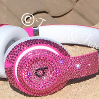 Hot Pink Beats By Dre Embellished with Swarovski Crystal Elements Rhinestones - Blinged Out Beats By Dre Headphones