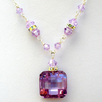 Amethyst Crystal Necklace Sterling Silver Lavalier Fashion Jewelry