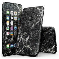 Black Scratched Marble - 4-Piece Skin Kit for the iPhone 7 or 7 Plus