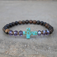 Howlite cross, crystal and ebony mala bracelet