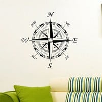 Wall Decal Vinyl Sticker Wind Rose Compass Travel Geography Decor Sb681