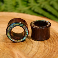 20% Christmas SALE Wood abalone tunnels, shell inlay plugs gauges double flare rainbow tribal tunnels tamarind wood 2g 0g 00g 1/2 9/16 5/8 1