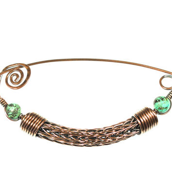 Viking Knit Jewelry, Viking Knit Brooch, African Turquoise Stone Jewelry, Copper Wire Brooch, Copper Scarf Pin, Turquoise Wire Scarf Pin