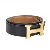53263 auth HERMES black Box & beige Gold leather REVERISBLE H Buckle Belt Sz. 80