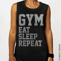GYM Eat Sleep Repeat - Black with Silver - Muscle Tee Tank T-shirt