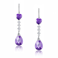 Jewel Heart Drop Cubic Zirconia Earrings (Purple)