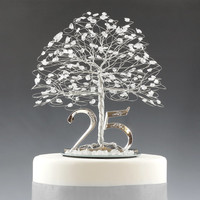 """25th Anniversary Cake Topper Gift Decoration Birthday Idea Tree in Clear Quartz Crystal and Silver Tone Wire - 8"""" wide 9"""" tall with 5"""" Base"""