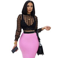 Women Sexy See Through Mesh Black Long Sleeve Crop Top