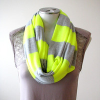 Super Soft Jersey Infinity Scarf, Neon Yellow and Gray Striped Loop Scarf , Gift for Her