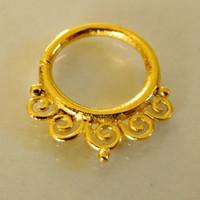 Gold Plated Septum For Pierced Nose - Nose jewelry - Septum Jewelry - Indian Nose Ring - Ethnic Septum - Septum Piercing (Code: G23)